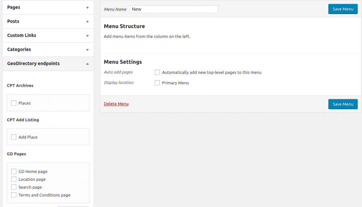 GeoDirectory V2 WordPress menu management integration
