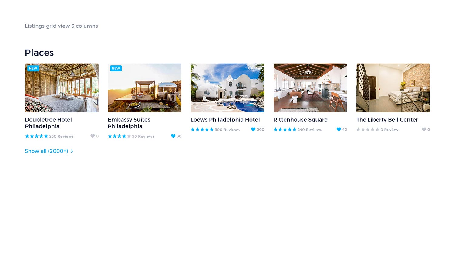 Listings Grid View 5 Columns