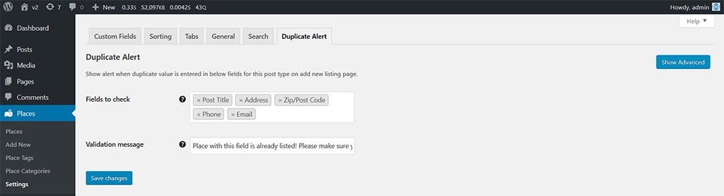 ajax duplicate alert v2 beta settings