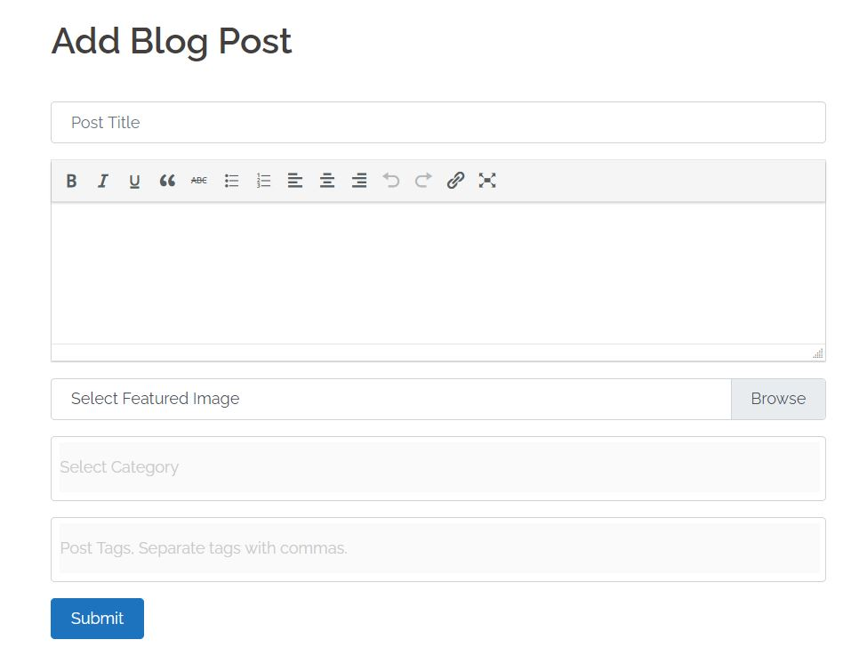 front end blog post for for logged in users