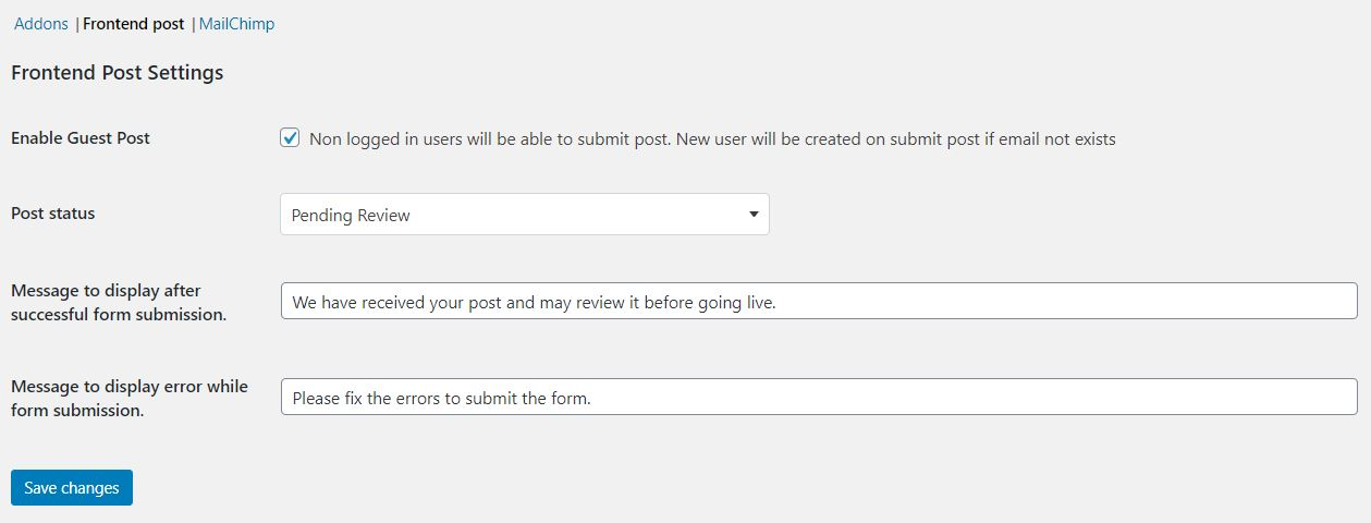 frontend post settings page