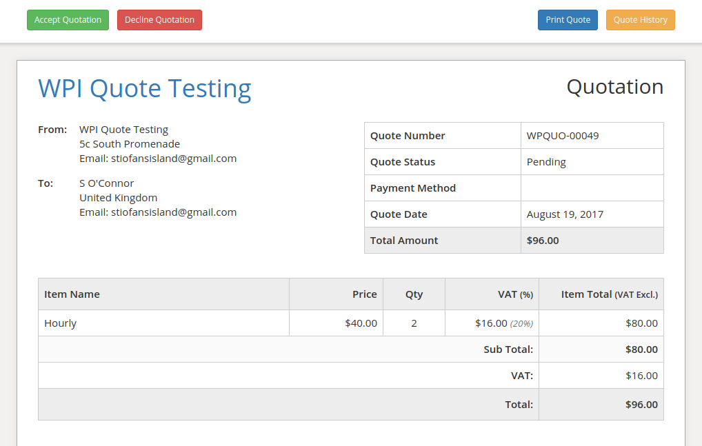 Quotes WP Invoicing - How to send quotation email to customer